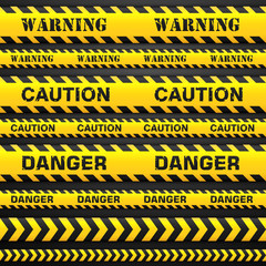 Vector set seamless tapes. Signs caution, danger and warning. Ribbon for restriction territories or dangerous zones.