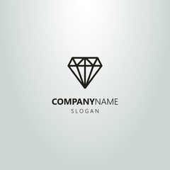 black and white linear abstract gem logo