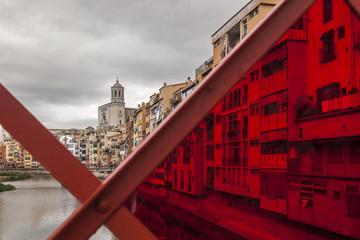 Bridge decorated and city view, spring festival flower,temps de flors, Girona, Catalonia.Spain.