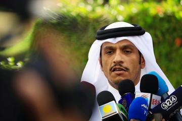 Qatar's Minister of Foreign Affairs Mohammed bin Abdulrahman Al Thani talks to the media after meeting Sudan's President Omar al-Bashir in Khartoum