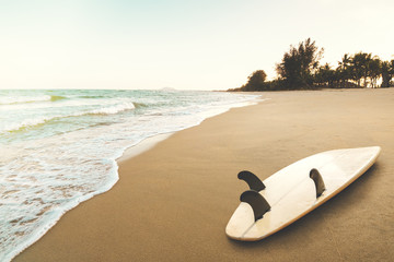 Wall Mural - Surfboard on tropical beach at sunrise in summer. seascape of summer beach with sea, blue sky background.