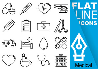 Editable stroke. Simple Set of medical vector flat line Icons - pill, thermometer, pulse, helicopter, injection, paper, suitcase, scalpel, ambulance, bed, blood, patch, heart, wheelchair, hospital