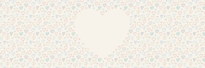 Background with hand drawn hearts nad copyspace. Template of a banner. Vector.