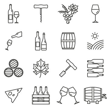 Wine outline icon set. Winery elements collection with grapes, wine glass and bottle, corkscrew, barrel. Minimal line design. Vector illustration.