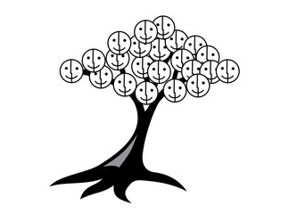 Tree of smiles and joy. Tree with smiley face instead of leaves. Black and white.