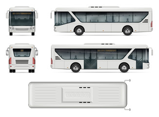 Bus vector mock-up. Isolated template of city bus on white background. Vehicle branding mockup. Side, front, back, top view. All elements in the groups on separate layers. Easy to edit and recolor.