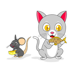 mouse and cat got a food!
