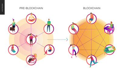 Blockchain concept vector illustration - scheme showing the cryptocurrency transaction processing and user connection