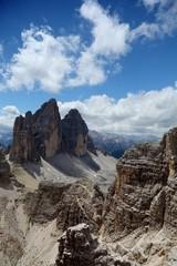 three peaks in the Dolomite Alps