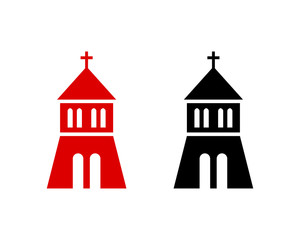 Simple Black and Red Roof of the Church Sign Symbol Icon Modern Logo Vector