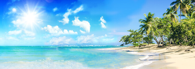 Foto auf Acrylglas Strand Ferien, Tourismus, Sommer, Sonne, Strand, Meer, Glück, Entspannung, Meditation: Traumurlaub an einem einsamen, karibischen Strand :)