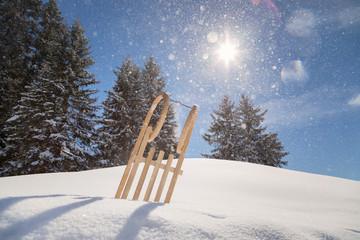 Schlitten im Schneegestöber