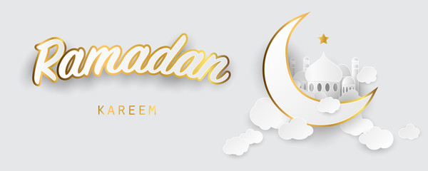 Ramadan kareem background. Paper cut vector illustration with mosque and moon, place for text greeting card and banner