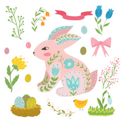 Illustration with rabbit and flowers in a Scandinavian style. Folk art