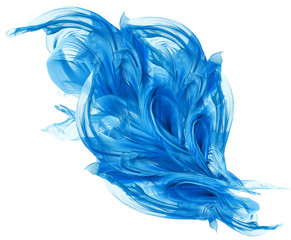 Flying Blue Fabric, Waving Flowing Silk Cloth, Fluttering Abstract Waves Material on White Background