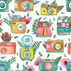 vintage cameras. compositions with flowers, leaves and cameras. seamless pattern