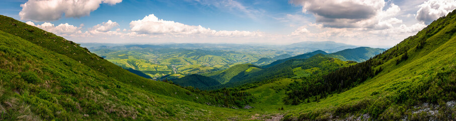 grassy slopes of Pikui mountain. amazing panorama with view to the valley and Borzhava ridge in a far distance. wonderful day to hike