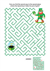 St. Patrick's Day themed maze game or activity page: Can you find the secret way to the secret place where the leprechaun hides his pot of gold? Answer included.