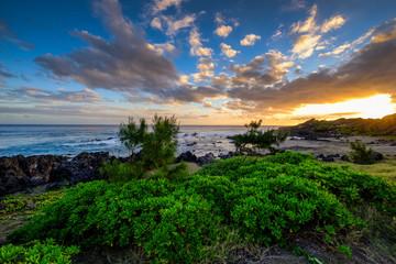 Sunset on la Reunion island coast