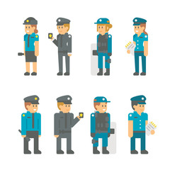 Flat design polices set