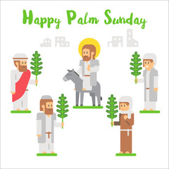 Flat design happy palm sunday
