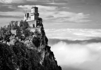 Rocca della Guaita, the most ancient fortress of San Marino, Italy. Black and white photo