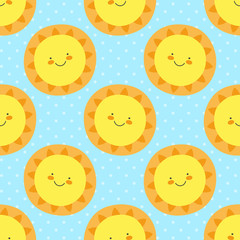Cute baby pattern with funny cartoon sun. Seamless vector print illustration for boys birthday party, children home textile, nursery. Sweet sunny illustration with polka dotted blue background.