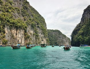 Boats on water in Thailand