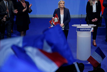 Marine Le Pen, National Front (FN) political party leader, is seen at the end of National Front's congress in Lille