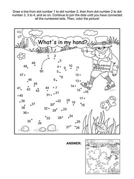 St. Patrick's Day themed connect the dots picture puzzle and coloring page with clover leaf and leprechaun. What's in my hand? Answer included.