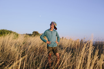 Portrait of smiling boy in the field