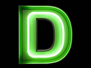 Neon green light alphabet character D font