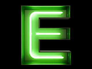 Neon green light alphabet character E font