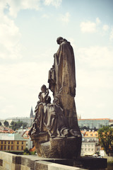 historical statues on the streets of Prague