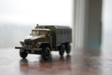 Scale model of Russian military truck with camouflage paint