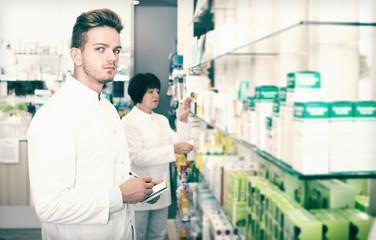 Pharmaceutist working in chemist shop