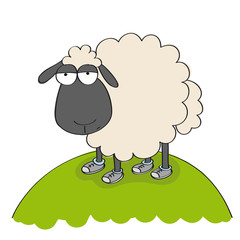 Dull sheep in shoes, standing on the hill and looking stupid - original hand drawn funny cartoon illustration