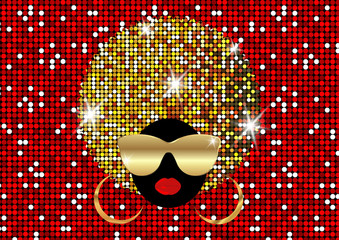 portrait African Women , dark skin female face with shiny hair afro and gold metal sunglasses in traditional ethnic golden turban, hairstyle concept, red cover for black music, disco, beauty events