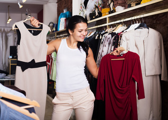 Girl purchasing dress