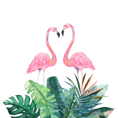 Couple pink flamingos. Tropical print for invitation, birthday, celebration, greeting card. Vector illustration