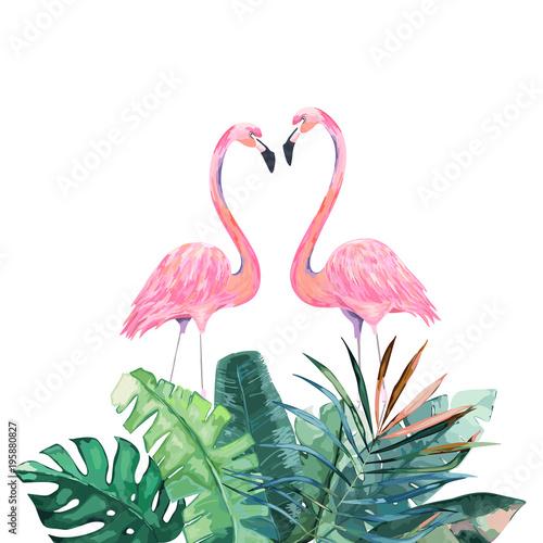 Pink Flamingos Tropical Print For Invitation Birthday Celebration Greeting Card Vector Ilration