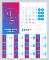 esk calendar for 2019 year. Set of 12 pages. Vector design print template with place for photo. Week starts on Monday. Calendar grid with week numbers