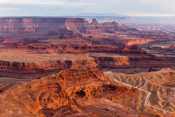View from Deadhorse Point State Park in Utah at Sunset, USA