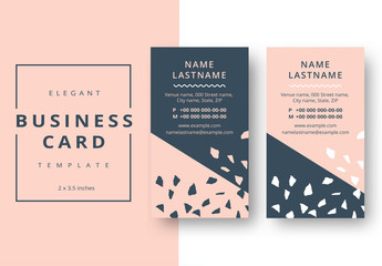 Abstract Business Card Layout with Pink and Gray Accents