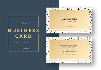 Abstract Business Card Layout with Black Inkspots