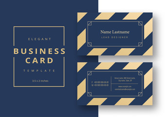 Business Card Layout with Blue and Tan Stripes