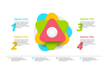 4 Step Infographic with Stacked Triangular Elements