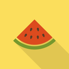 Illustration of watermelon flat icon with shadow