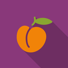 Illustration of peach flat icon with shadow