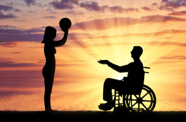 Concept of caring and supporting disabled people in the family